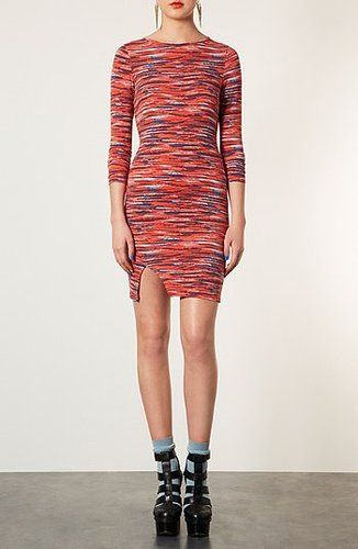 Topshop Stripe Notched Body-Con Dress