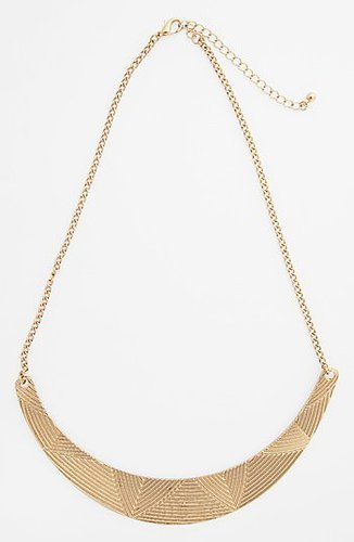 Topshop Etched Bar Collar Necklace Gold