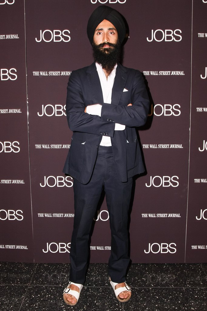 A well-suited Waris Ahluwalia caught a New York screening of Jobs.