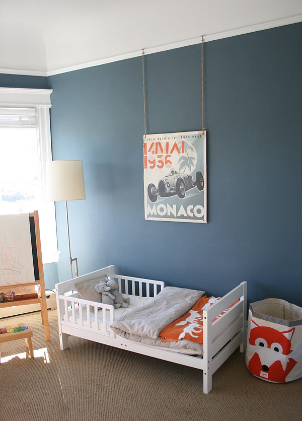 Boy 39 s room in orange and blue popsugar moms Colors for toddler boy room