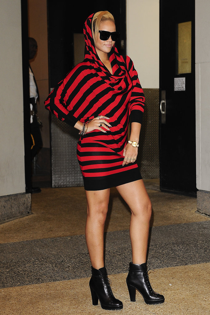 Rihanna channeled a fashion-forward Freddy Krueger in a striped Alexander McQueen sweater dress while visiting It's On With Alexa Chung in November 2009.
