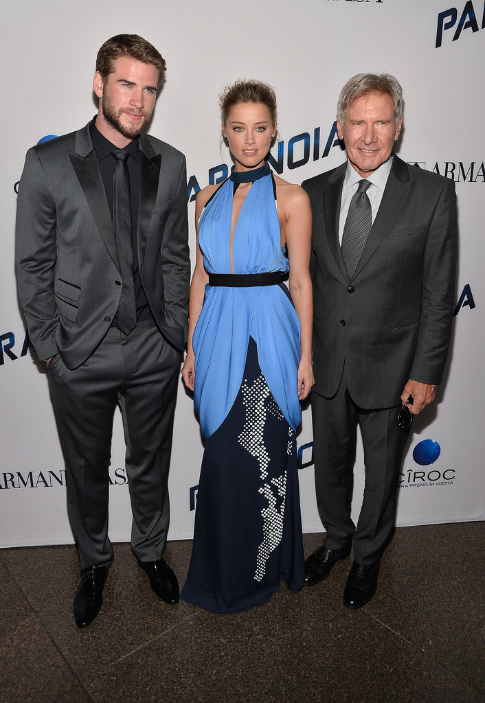 Liam Hemsworth, Amber Heard, and Harrison Ford posed for photos.