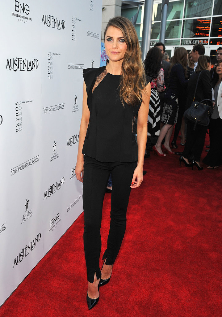 Keri Russell walked the Austenland carpet in a sleek, black pant ensemble.