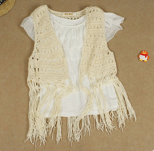 lace cardigan shrug shirt tassel long knitting wool vest Cutout Handmade crochet outerwear