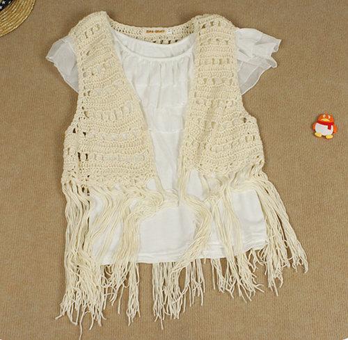 lace cardigan shrug shirt tassel long knitting wool vest Cutout Handmade crochet outerwear