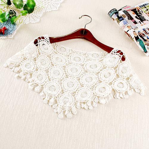 white / beige lace blouse bat shirt waistcoat openwork crochet loose pullover cape shawl