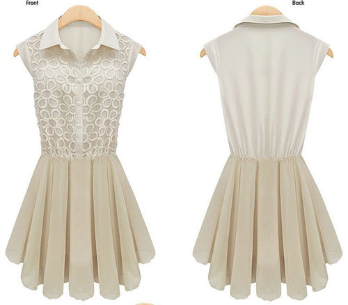Beige turn-down collar sleeveless cut flower stitching bud silk chiffon dress with silhouette waist
