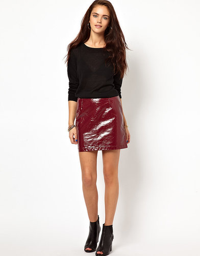 Glamorous PU Mini Skirt In Patent Faux Leather