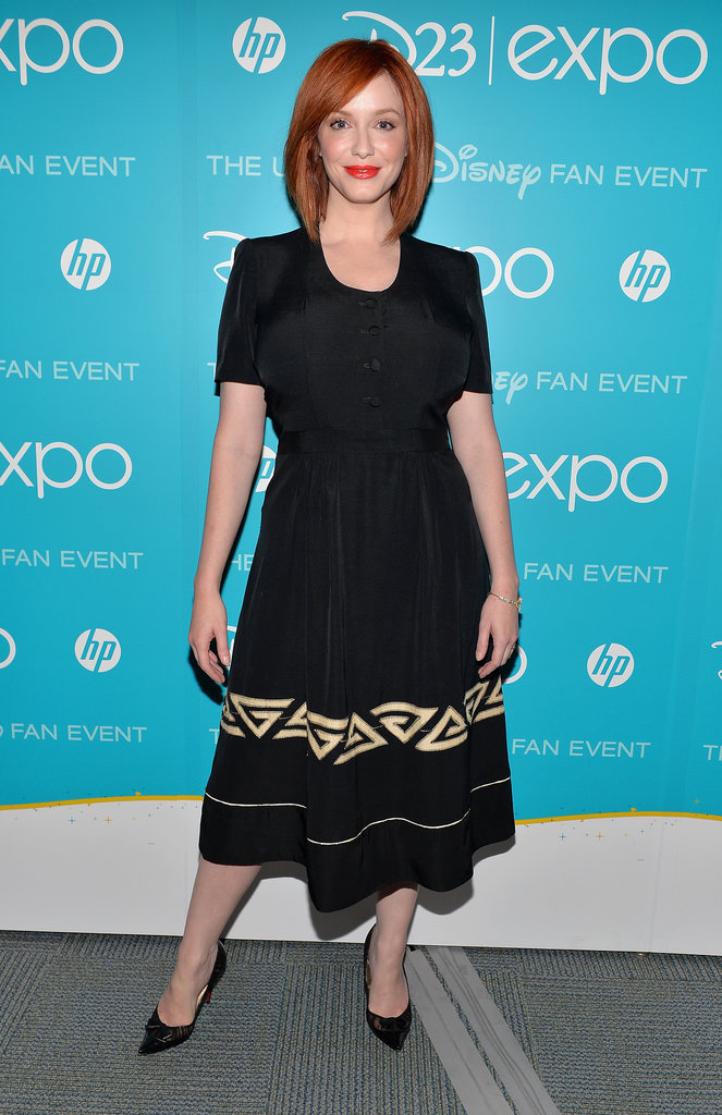 Christina Hendricks posed for pictures at Disney's D23 Expo in LA on Saturday.