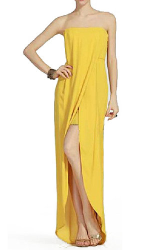 BCBG JESSE DRAPED STRAPLESS GOWN YELLOW