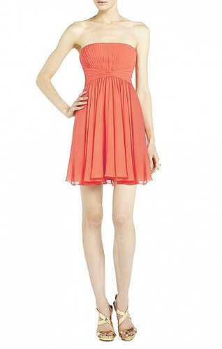 DURAN STRAPLESS DRESS WITH SKIRT DRAPE MELON