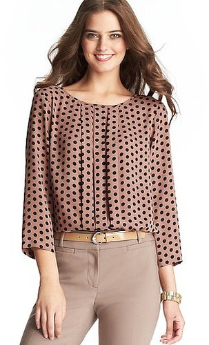Polka Dot Pleat Front Blouse