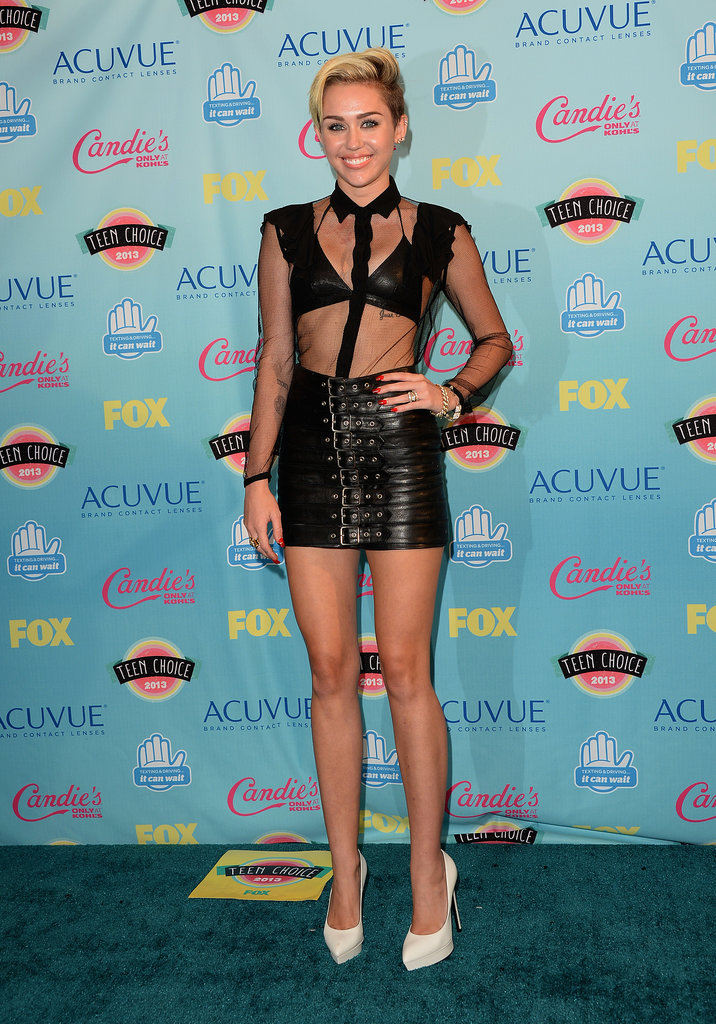 Never one to shy from showing skin, Miley Cyrus was sheer perfection in her black leather Saint Laurent designs and Lorraine Schwartz's diamonds.