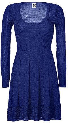M MISSONI Dark Blue Wool-Blend Scoop Neck Knit Dress