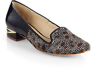 Diane von Furstenberg Canela Pheasant-Print Calf Hair & Patent Leather Smoking Slippers