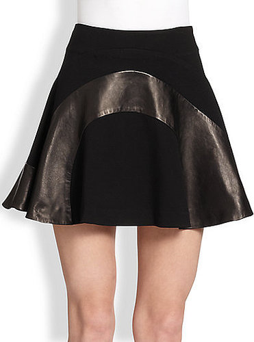 Diane von Furstenberg Tristana Leather Combo Fit-&-Flare Skirt