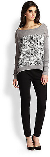 Diane von Furstenberg Gracie Print-Paneled Wool Sweater