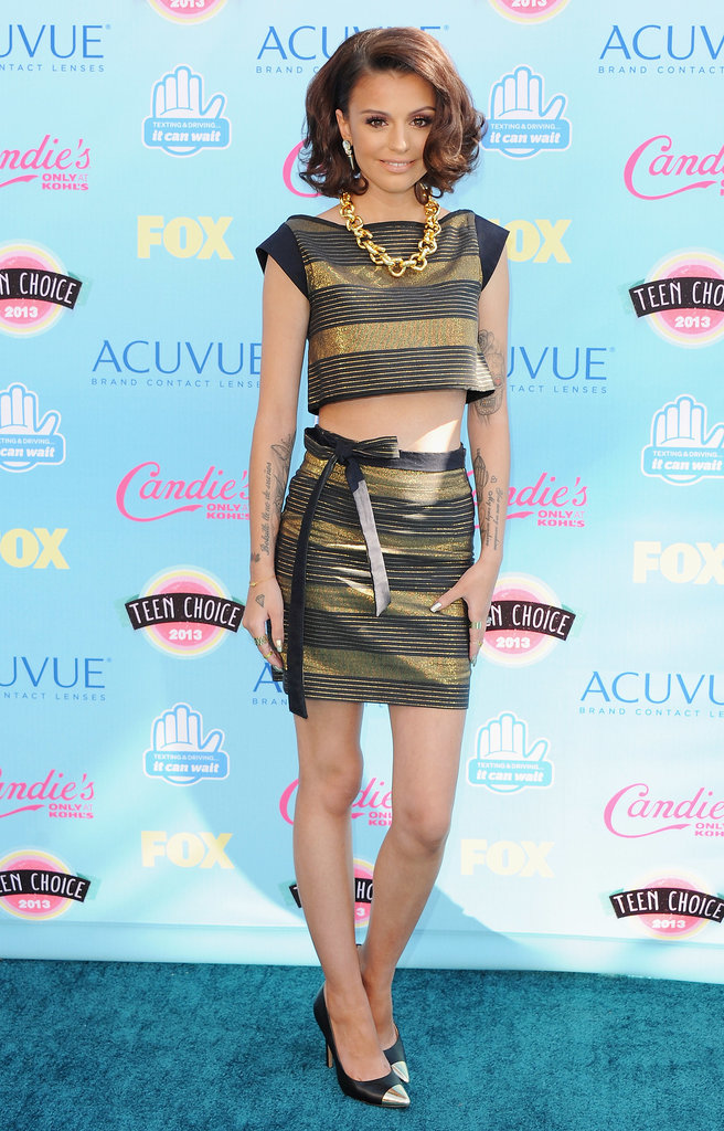 Cher Lloyd caught our eye in one of the evening's top trends — midriff-baring separates — in a look by The Hellers.