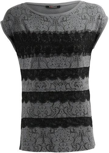 Morgan Tee-shirt motif Marie-Antoinette orné de dentelle
