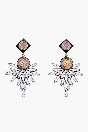 DANNIJO Champagne Crystal Odessa Statement Earrings