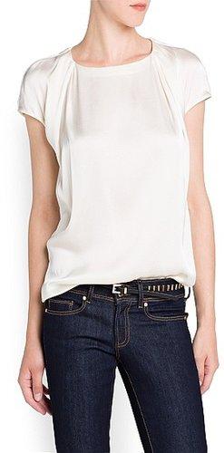 Pleated satin finish blouse