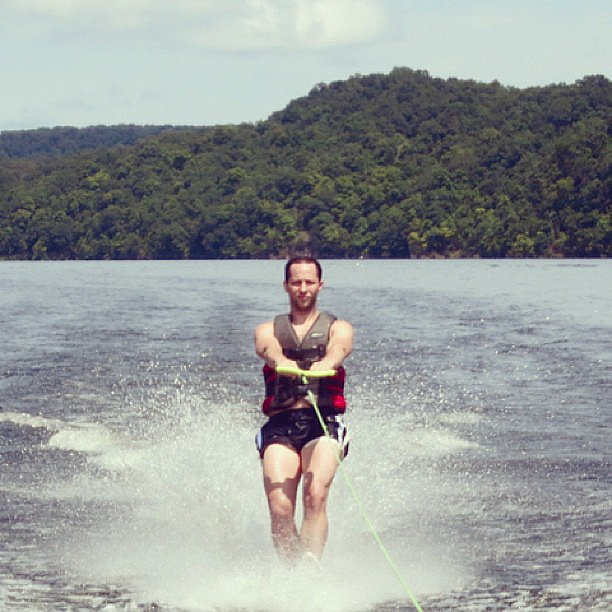 Derek Blasberg tried his hand at water sports while on vacation with his family. Source: Instagram user derekblasberg