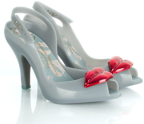 Vivienne Westwood Blue VW Ladydragon Lips Womens Peep Toe Shoe