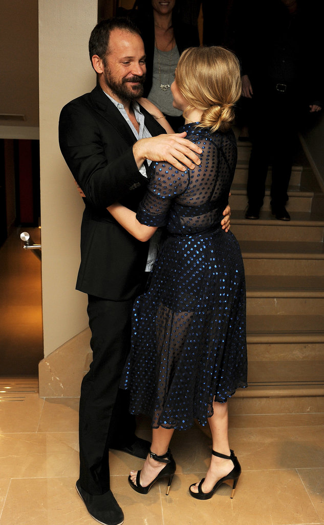 Amanda Seyfried got a sweet greeting from Peter Sarsgaard at a special screening of their film Lovelace in London.