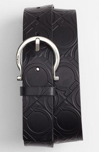 Salvatore Ferragamo Gancini Leather Belt Black 38