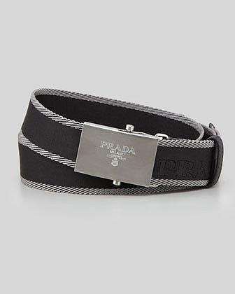 Prada Nastro Logo-Buckle Belt, Black/Gray