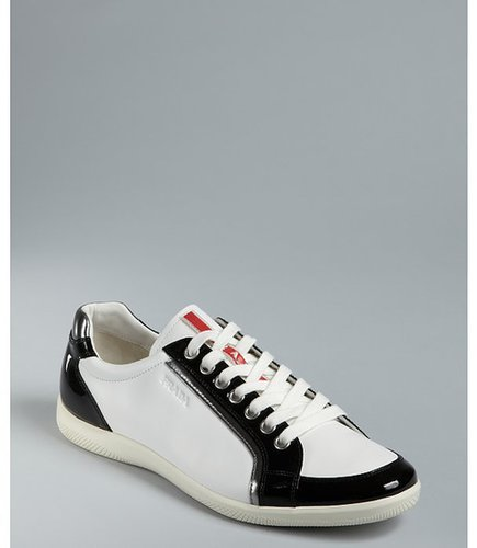 Prada Sport white and black leather patent trim sneakers