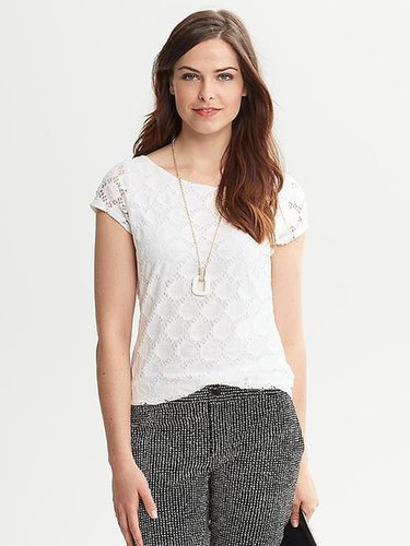 Dot Lace Short-Sleeve Top