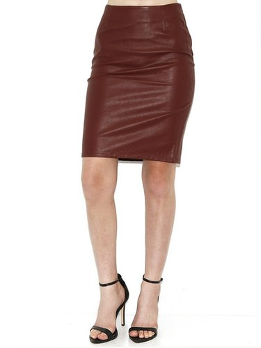 Olivaceous Olivaceous Faux Leather Pencil Skirt In Rust
