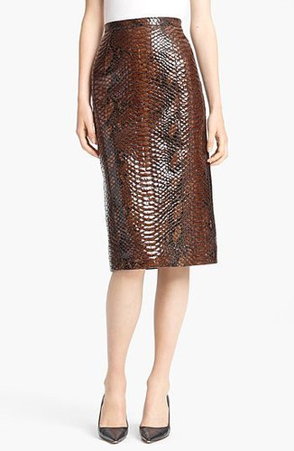 Burberry Prorsum Python Print Embossed Leather Pencil Skirt Bright Toffee 6 US / 42 IT