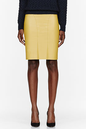 CEDRIC CHARLIER Yellow leather Skirt