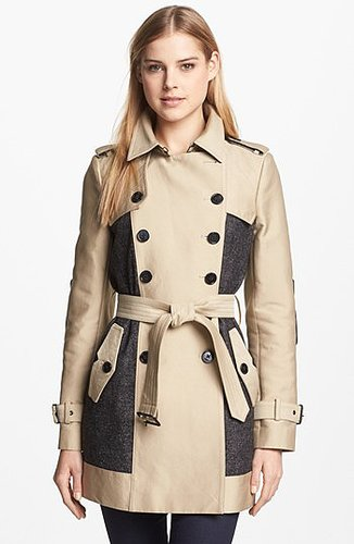 Sam Edelman Double Breasted Wool Inset Trench Coat X-Small