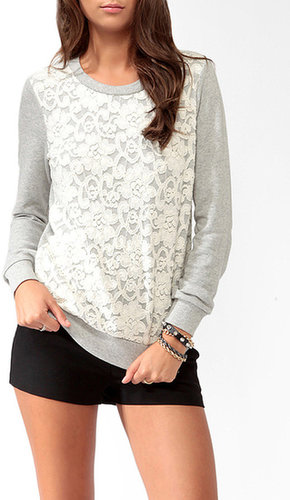 FOREVER 21 Lace Overlay Sweatshirt