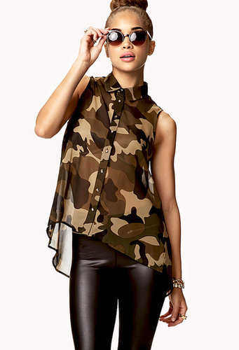 FOREVER 21 Spiked Camo Trapeze Shirt