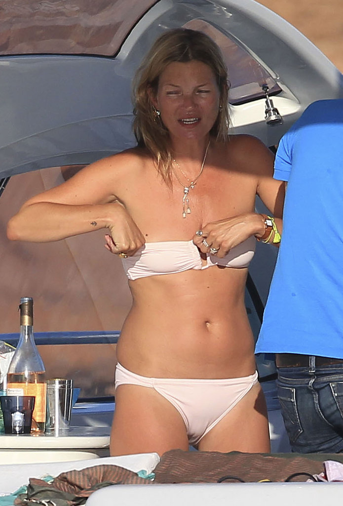 Kate Moss relexed on a yacht with husband Jamie Hince.