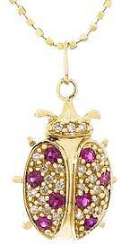 Sydney Evan Diamond and Ruby Lady Bug Pendant - Yellow Gold