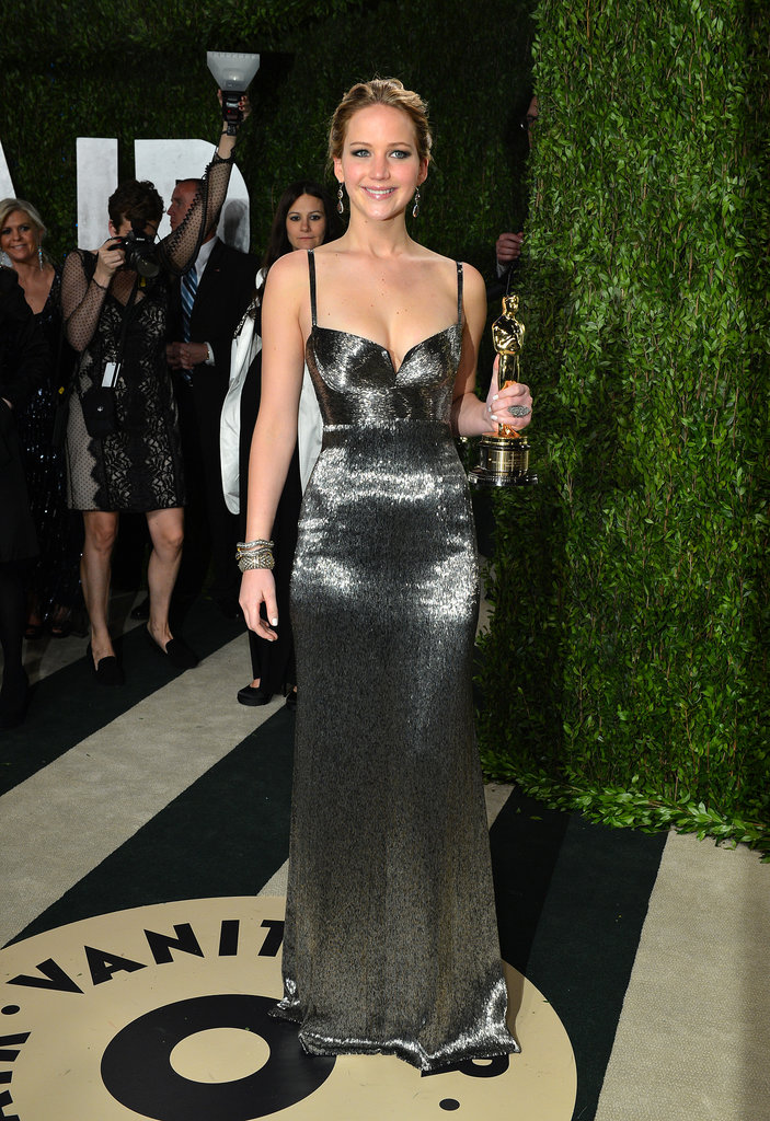 After the party (OK, award show), it's the afterparty, right? Jennifer glimmered just as much as her award at the Vanity Fair afterparty in her Calvin Klein gown.