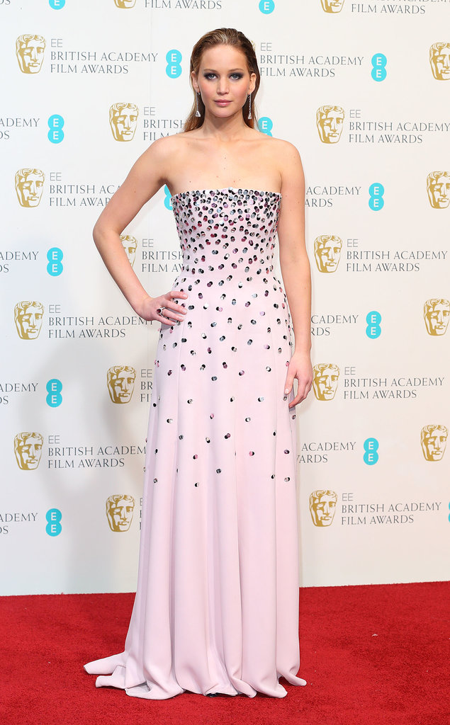 We loved the cascading embellishment on Jennifer Lawrence's soft-pink Dior gown at the BAFTAs.