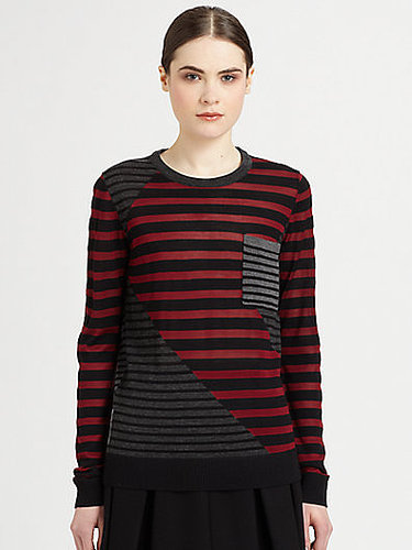 Proenza Schouler Silk & Wool Contrast-Paneled Striped Sweater