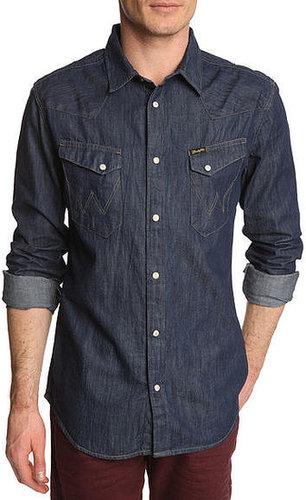 Chemise denim bleu brut Western WRANGLER, pour homme - Chemises Cintrées
