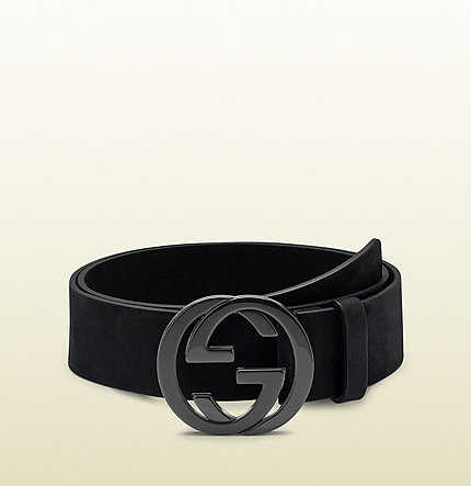 black leather belt with interlocking G buckle