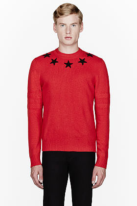 GIVENCHY Red star collar sweater