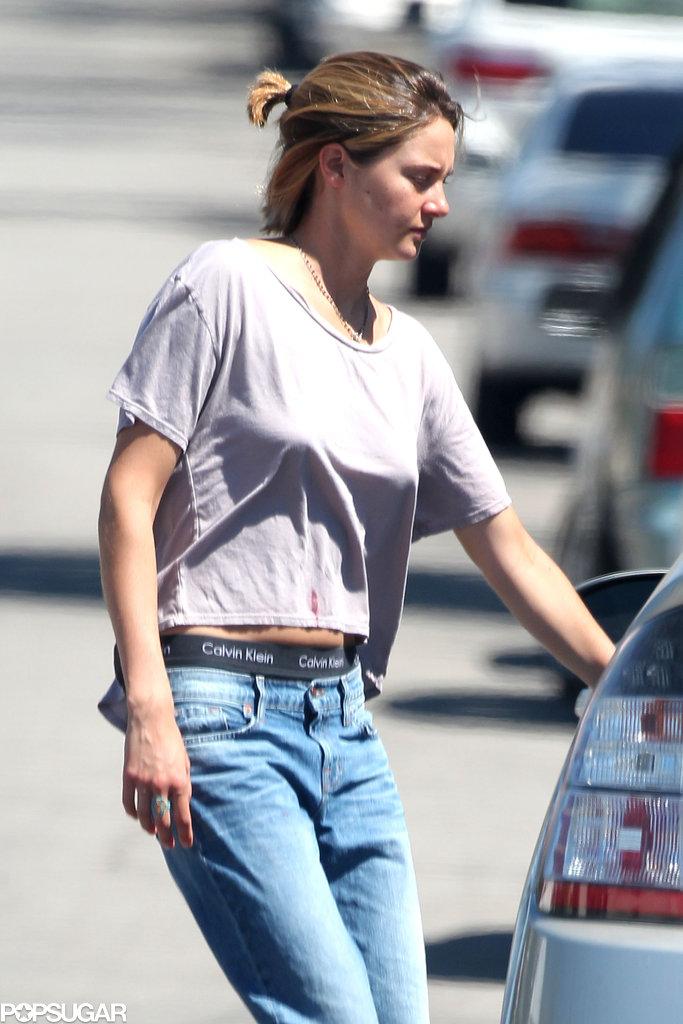 Shailene Woodley showed off a short ponytail.