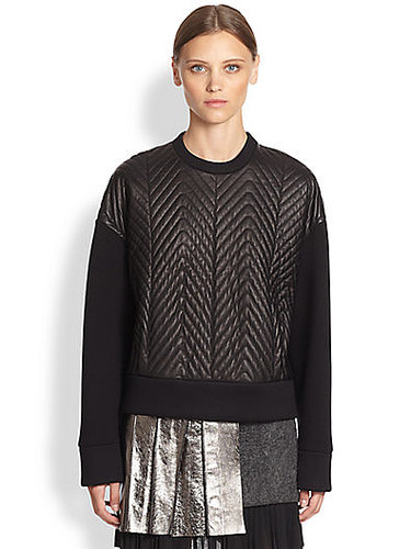 Neil Barrett - Quilted Leather-Front Sweatshirt