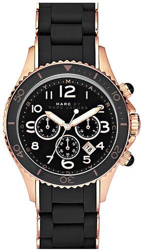 MARC by Marc Jacobs 'Rock' Chronograph Silicone Bracelet Watch Rose Gold/ Black