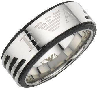 Emporio Armani men's stainless steel logo ring - size U